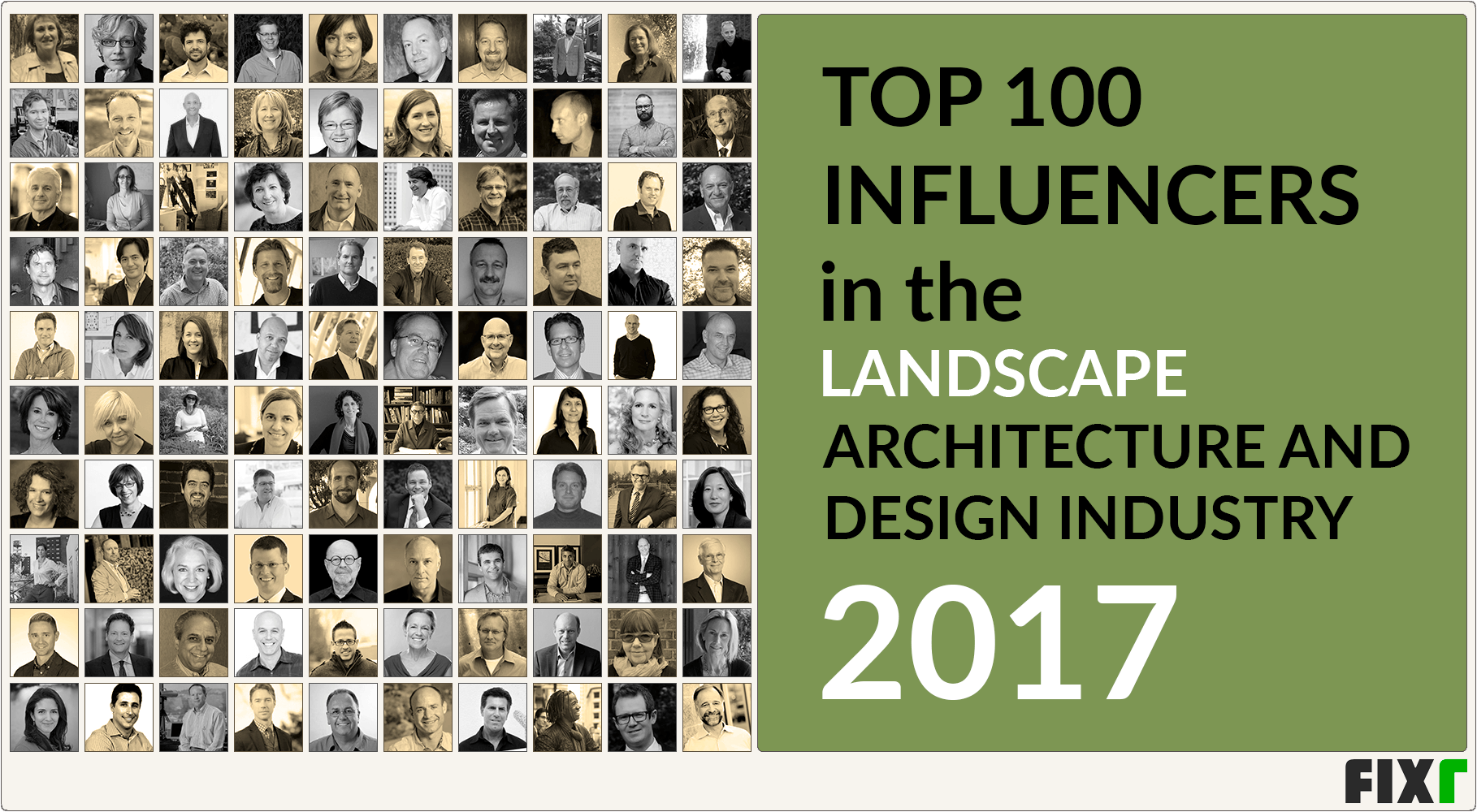 Top 100 influencers in the landscape architecture and for Home design influencers