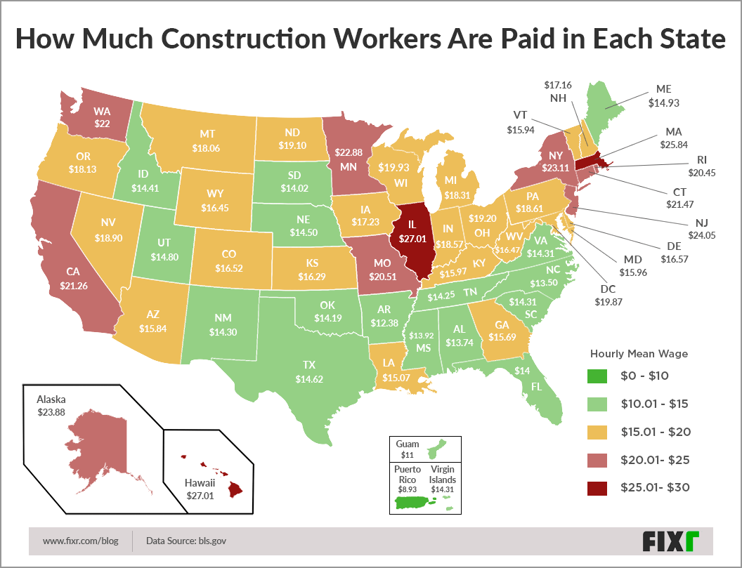 This Map Shows Where Construction Workers are Highest Paid (and How Much) in the U.S.